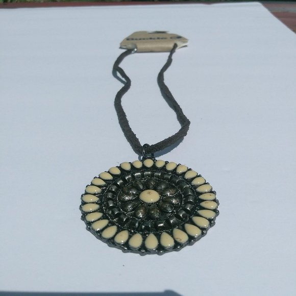 Buckle Medallion Faux Leather Rope  Necklace